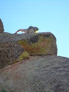 Rock Climbing Photo: On the arete above the crux, but still sketchy!