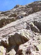 Rock Climbing Photo: Wyatt safely through the 1st pitch crux