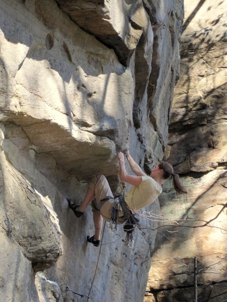 Dana Steck, heading into the business on Lost Souls, 5.12a.
