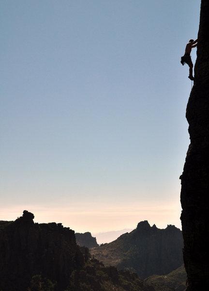 Rock Climbing Photo: near the top of damsels in distress
