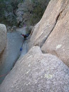 Rock Climbing Photo: Looking down the groove 1st pitch