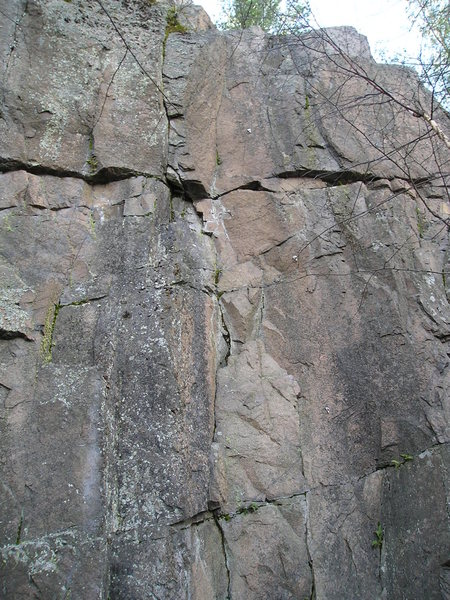 Short bolted route (of the 2 bolted routes it is the one on the left).<br> On the light rock in center of picture. Seems obvious when climbing.