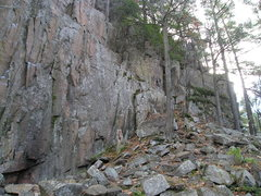 """Rock Climbing Photo: End of main wall looking up the cliff line, """"..."""