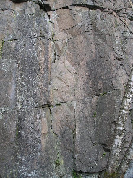 Rock Climbing Photo: Close up view, route is center, follows obvious li...