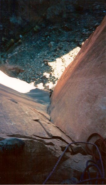 Rock Climbing Photo: Looking down the 2nd pitch, a nice clean dihedral.