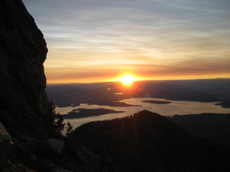 Sunrise from the top of Drizzlepuss on Mt Moran, 2008.