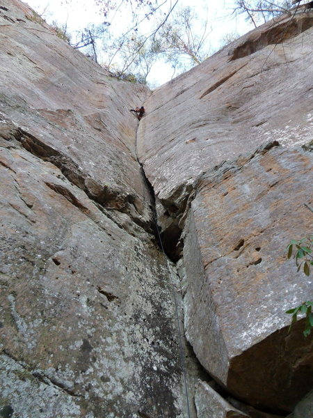 Luke Cushman climbing Jim's Dihedral