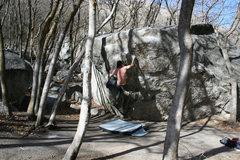 Rock Climbing Photo: standard overhang V3 LCC utah