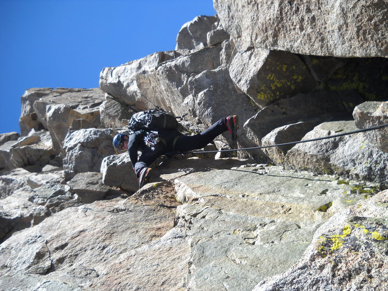 chris climbing the first pitch from the U-Notch