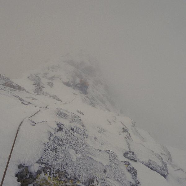 Rock Climbing Photo: Assiniboine North Ridge in nasty conditions