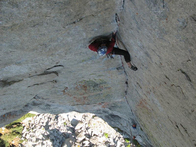 Rock Climbing Photo: Darek leading the crack.