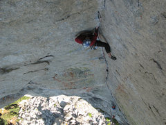 Rock Climbing Photo: Darek leading the crack.
