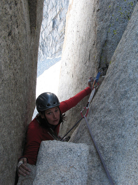 Rock Climbing Photo: Finishing the chimney on P3.