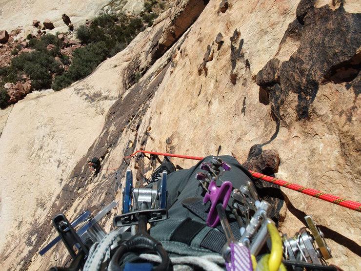 Rock Climbing Photo: looking back down P2