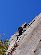 Rock Climbing Photo: contemplating the traverse to mantle move on P5