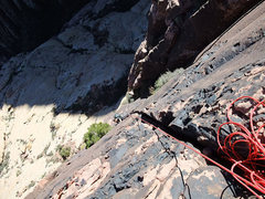 Rock Climbing Photo: Jascha at the mantle crux on P5