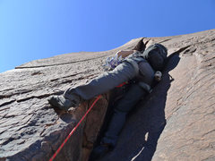 Rock Climbing Photo: starting up the flaring chimney on P6