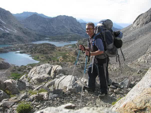 Backpacking over Bishop Pass heading for Palisade Basin, North Pal BC