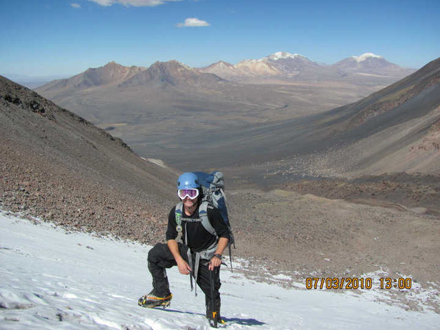 Starting up the South face of Pomerape in Bolivia
