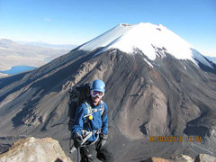 Rock Climbing Photo: High up the South face of Pomerape with Parinacota...