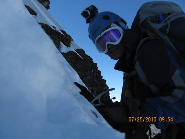 Rock Climbing Photo: Going solo up Ruta Directo on Pequeno Alpamayo