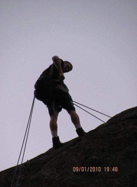 Rock Climbing Photo: Raping off out at Bowman Lake