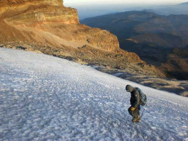 Rock Climbing Photo: Starting up the Jamampa glacier on El Pico de Oriz...