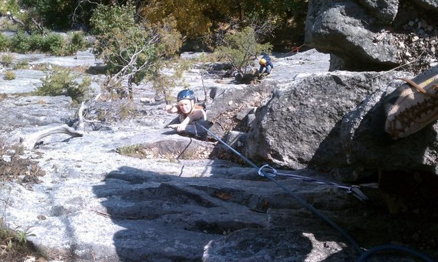 Rock Climbing Photo: Me coming up p2, thumbs up all the way!