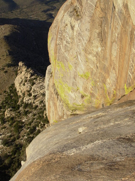 Rock Climbing Photo: Looking down pitch four. (5.9-)