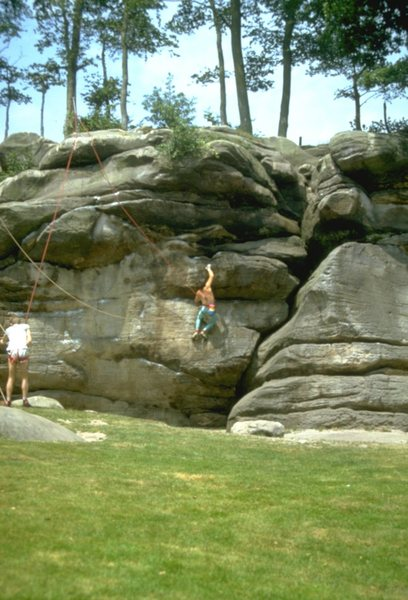 Rock Climbing Photo: Starting the crux sequence on Icarus.