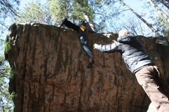 Rock Climbing Photo: Rockin' over the semi scary press top-out. It ain'...