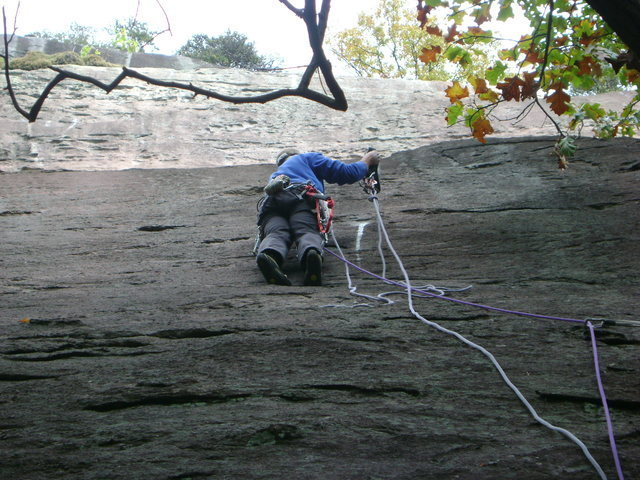 putting up pitch one.  Pretty much a plumb line up the three sections of cliff shown in photo.