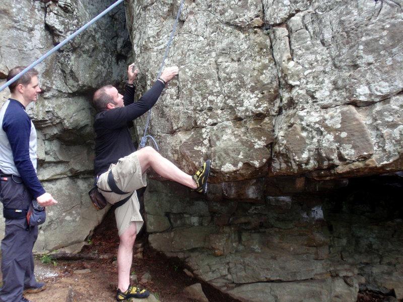 Rock Climbing Photo: crux move -- route photo