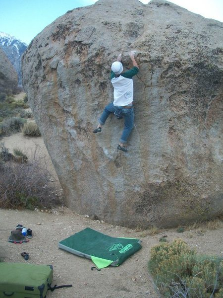 Rock Climbing Photo: The last hard move to the jug.Ahhh!