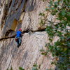 Moving through the crux pitch