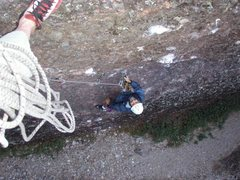 Rock Climbing Photo: Looking down from Pitch 1.