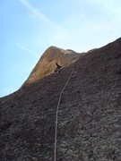 Rock Climbing Photo: Looking up at the long runout on Pitch 2 (5.7R).