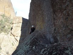 Rock Climbing Photo: Looking back on the easy traverse (5.2) on Pitch 3...
