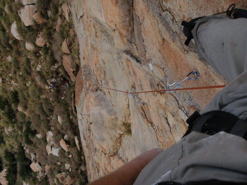 looking down the first pitch of Leonids (5.9), El Cajon Mountain, San Diego CA