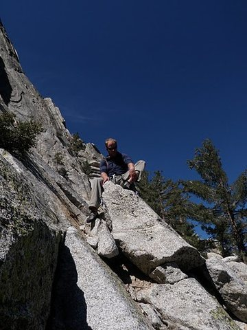 Getting ready to start up Tahquitz Rock on Sahara Terror (5.7)