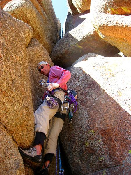 Rock Climbing Photo: Ben starting the 2nd pitch. Classic Vedauwoo pose.