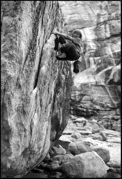 Rock Climbing Photo: Lidija Painkiher bouldering at Tuolumne Meadows. P...