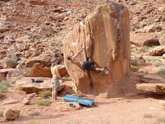Rock Climbing Photo: a tricky deadpoint move