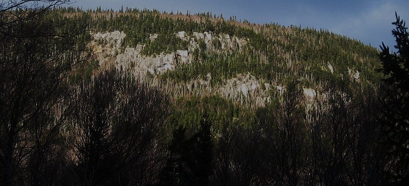 Rock Climbing Photo: Crags seen from trail parking lot. The pillar is t...