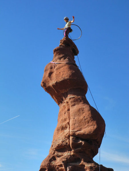 Rock Climbing Photo: Hula Hooping on top- is this a first?