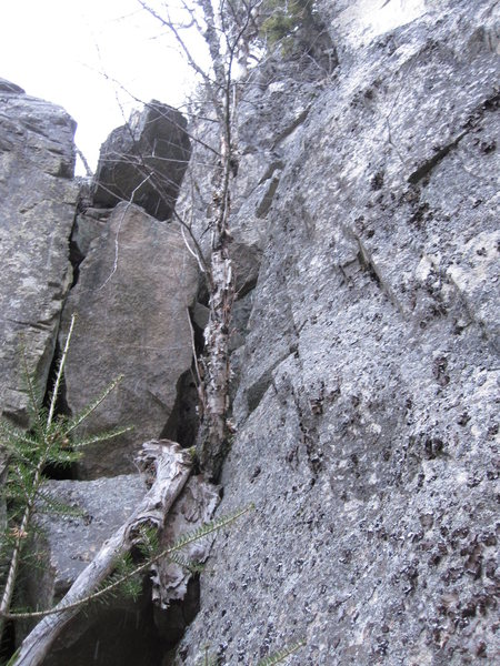 I climbed up this free solo on the pillar's right side during alpine conditions.
