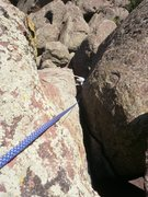 Rock Climbing Photo: Looking down the crack.