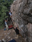 Rock Climbing Photo: Joel Unema on The Whining Warmup, and Dean Hoffman...