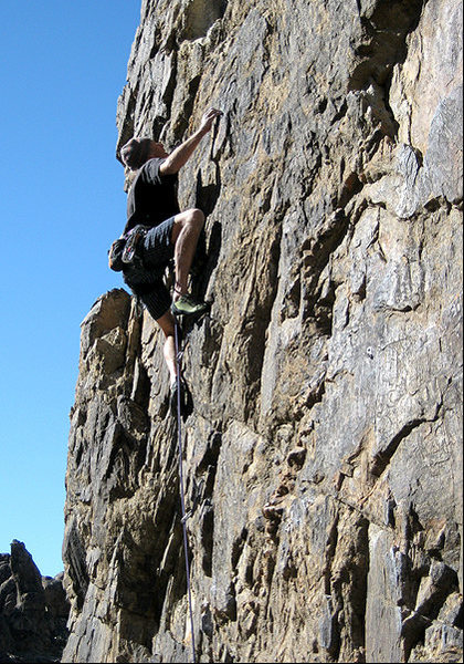 Erik on the first crux of &quot;Candy-O&quot;.<br> Photo by Blitzo.