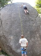 Rock Climbing Photo: Jenna TR'ing Lunch Rock Direct.